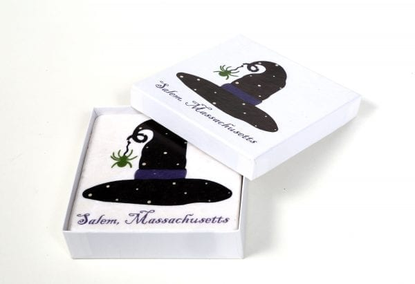 ceramic witch hat coaster with cork bottom in box