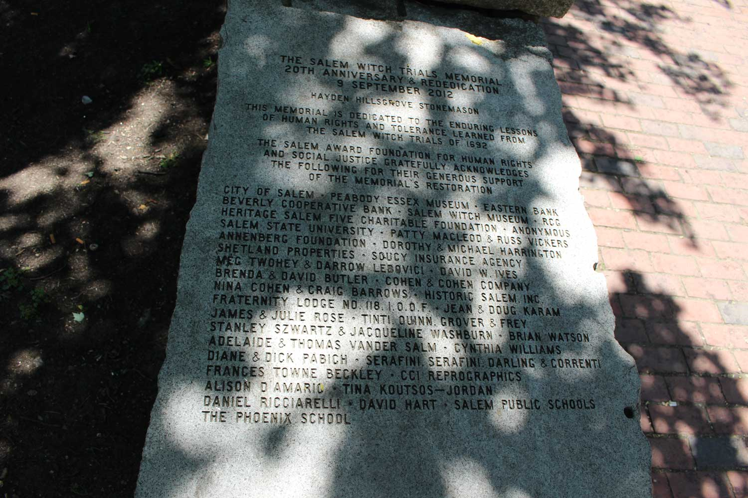 Witch Trials Memorial Site Stone