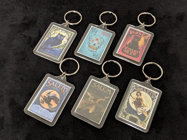 6 plastic keychains