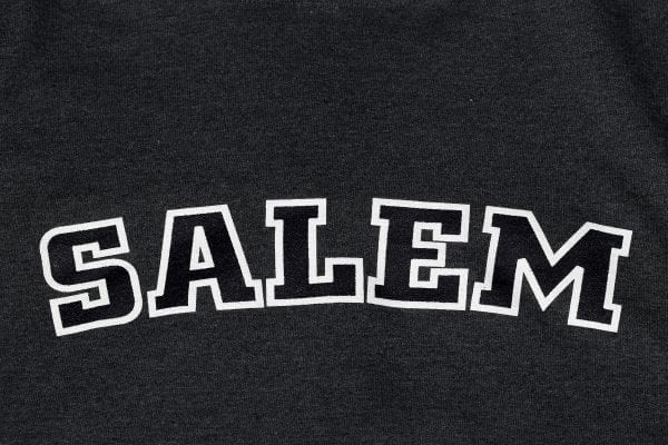 Salem written in black with white outline