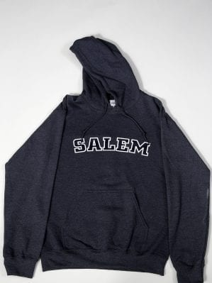 "Grey hoodie.  Has ""Salem"" written on the front."