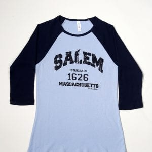 Blue cotton baseball t-shirt. Women's cut.