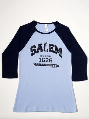 Blue cotton baseball t-shirt. Women's cut.