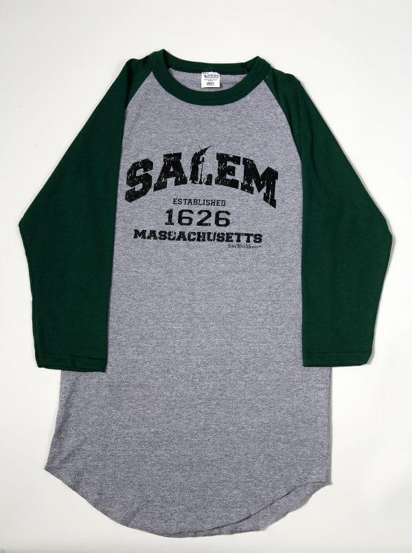 Green, cotton baseball t-shirt. Men's cut