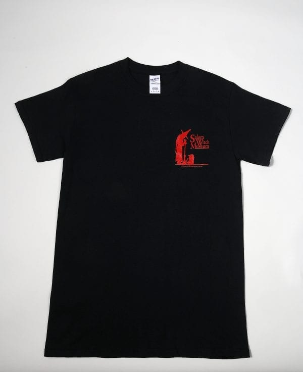 A black t-shirt with a small red SWM logo.
