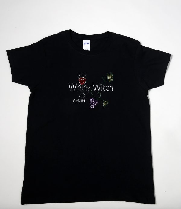 Black cotton shirt with rhinestone decoration.