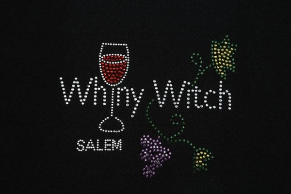 Rhinestones on black shirt. Whiny Witch.