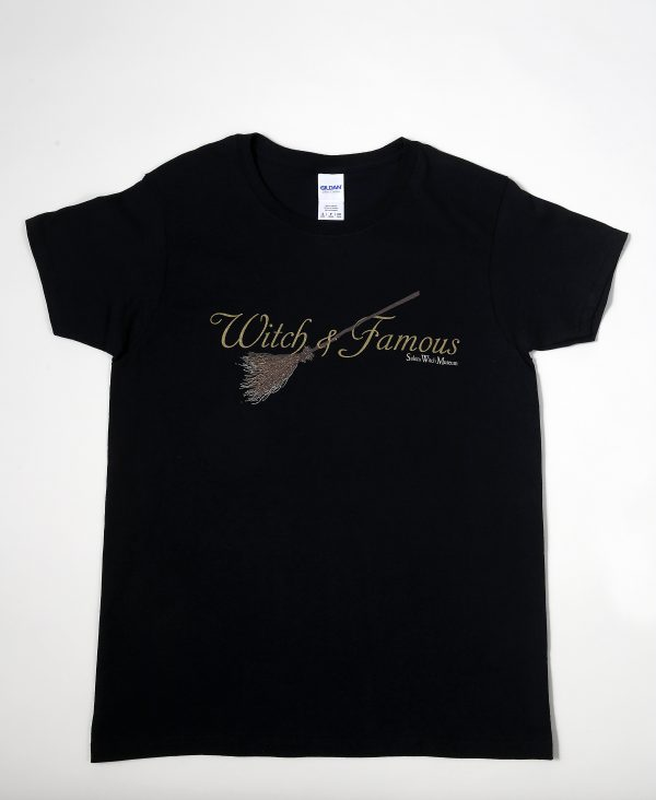Black cotton t-shirt with broom. Witch and Famous.