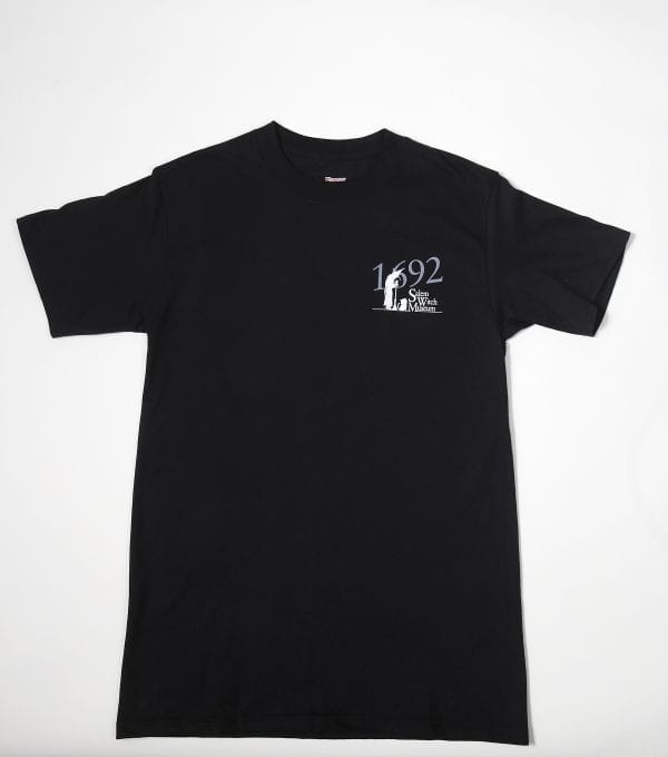 Black shirt with Salem Witch Museum logo on the front.