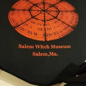 A red circle containing the names of the twenty people executed during the Salem witch trials.