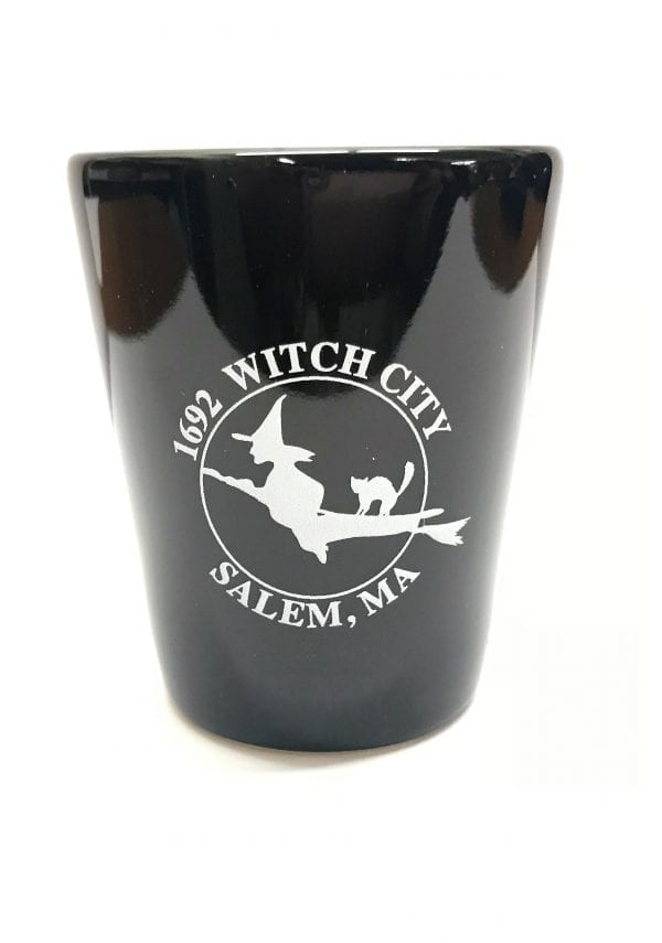 black Salem 1692 logo shot glass