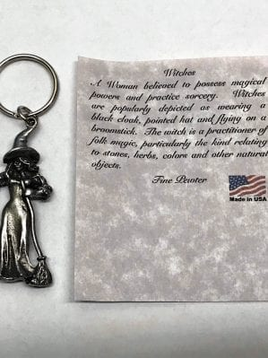 pewter standing witch key chain