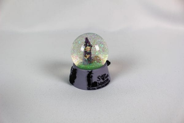 Purple witch snow globe