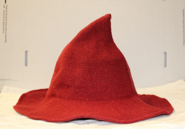red knit witch hat