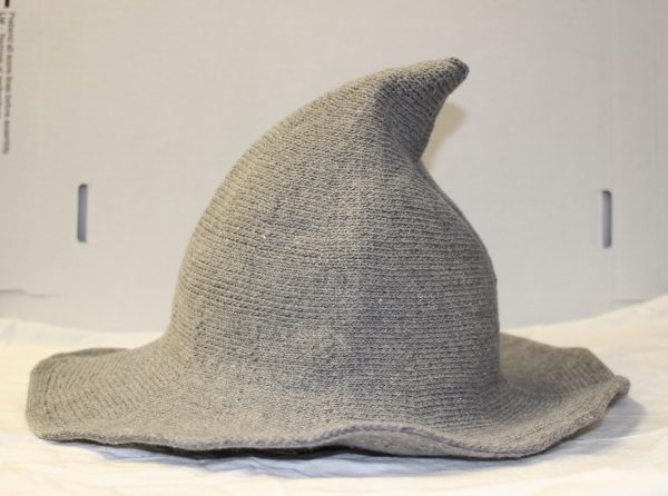 grey knit witch hat