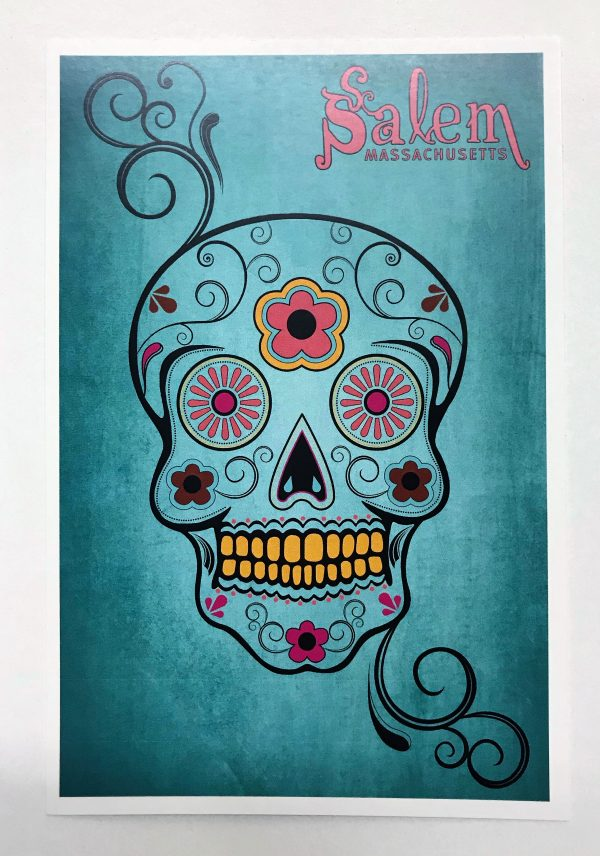 sugar skull postcard